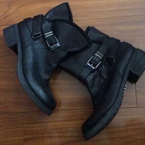 Rachel Roy Black Leather Buckle Ankle Boots